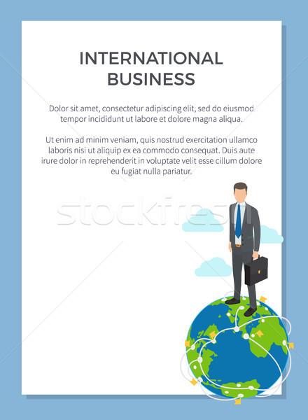Business internazionale poster imprenditore piedi piccolo modello Foto d'archivio © robuart