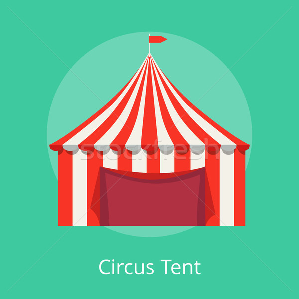 Circus Tent Poster Striped Awning for Performances Stock photo © robuart
