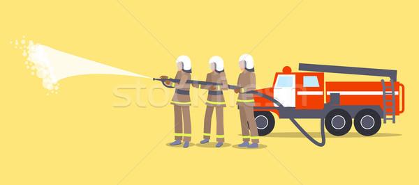 Bombeiros capacetes fogo três uniforme Foto stock © robuart