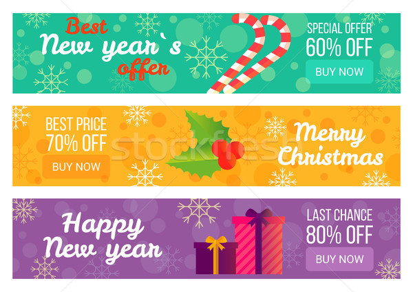 Сток-фото: лучший · Новый · год · предлагать · Рождества · продажи · реклама