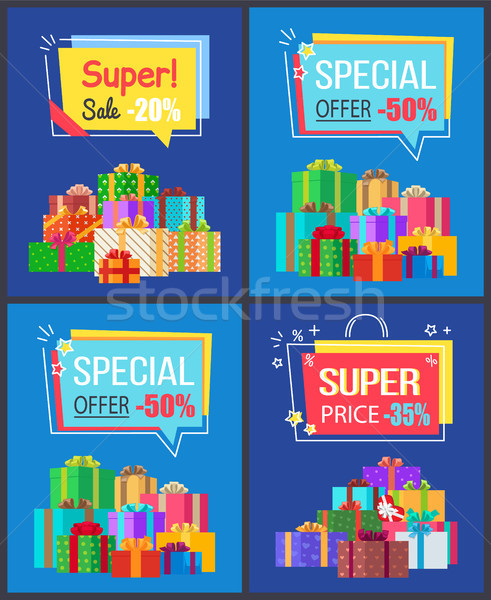 Super Sale Special Offer Set Vector Illustrations Stock photo © robuart