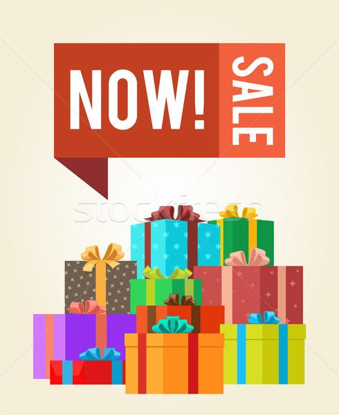 Maintenant vente mettre boutons promo Photo stock © robuart