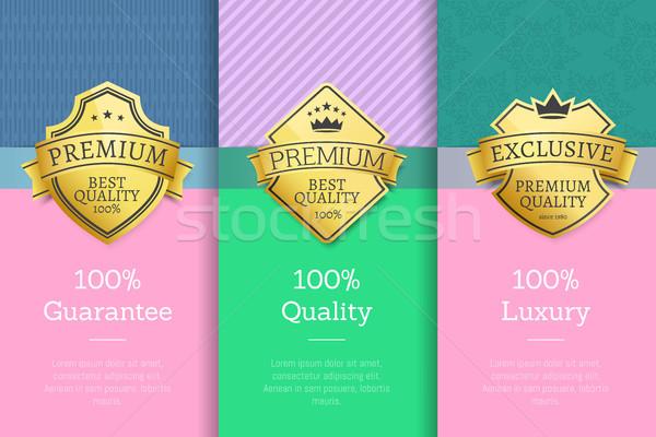 100 гарантировать качество роскошь набор плакат Сток-фото © robuart
