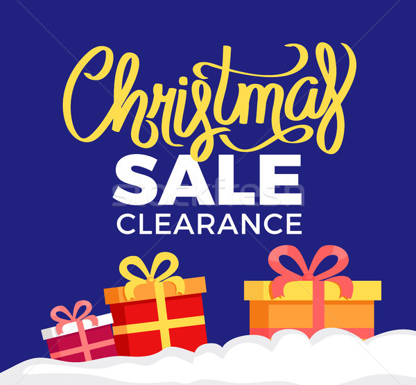 Christmas Sale Clearance Poster with Gift Boxes Stock photo © robuart