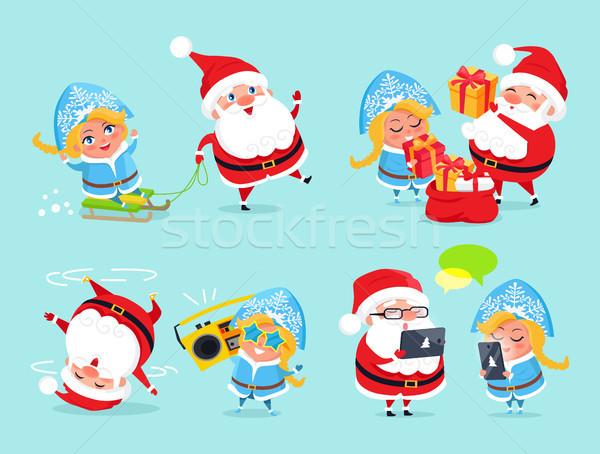 Santa Claus and Snow Maiden Vector Illustration Stock photo © robuart