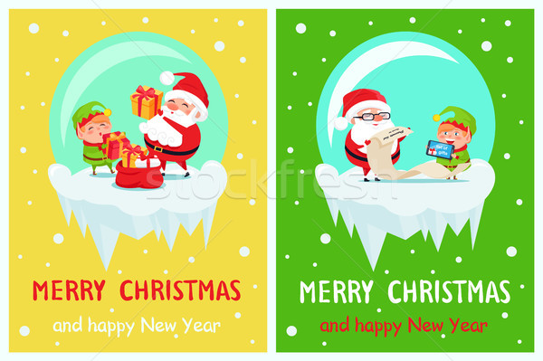 Boldog új évet vidám karácsony poszter mikulás manó Stock fotó © robuart