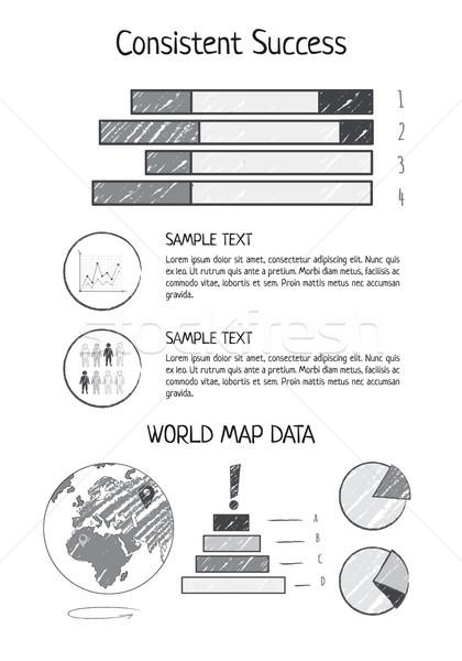 последовательный успех статистика Мир карта данные Бар Сток-фото © robuart