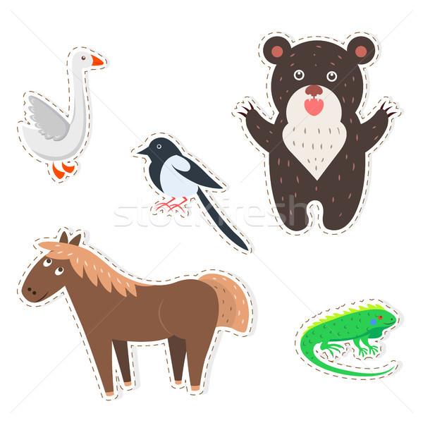 Cute Animals Cartoon Flat Vector Stickers Set Stock photo © robuart
