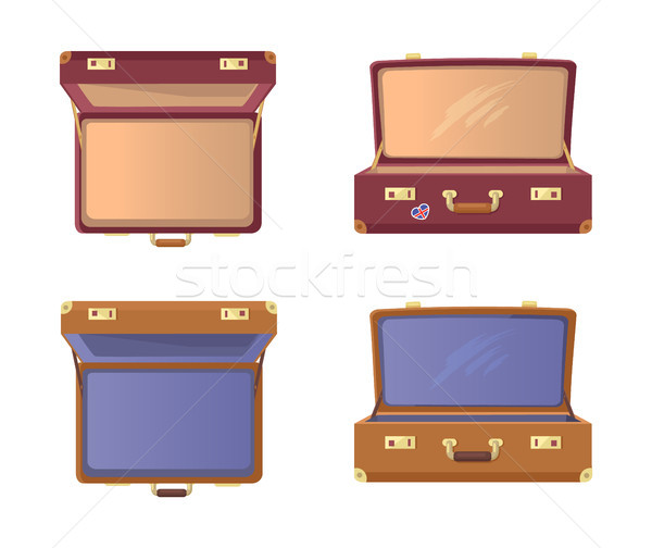 Set Open Suitcases with Britain Flag Vector Icons Stock photo © robuart