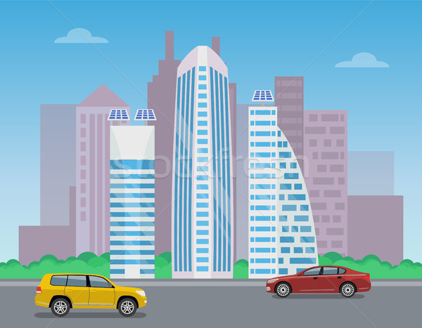 Modern City Landscape, Color Vector Illustration Stock photo © robuart