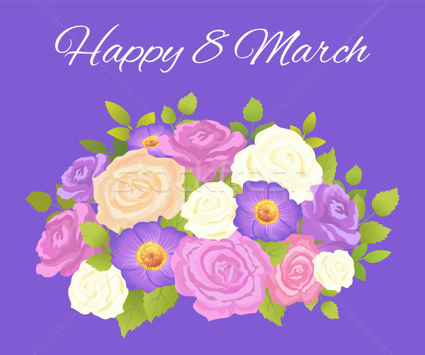 Happy 8 March Blue Placard Vector Illustration Stock photo © robuart