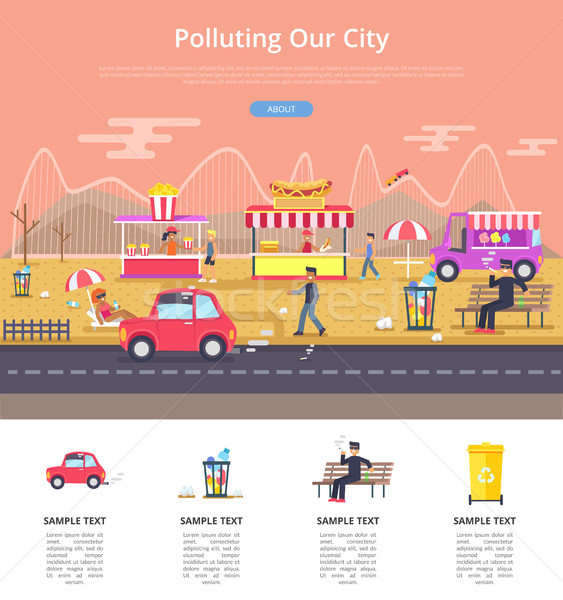 Polluting Our City Poster Vector Illustration Stock photo © robuart