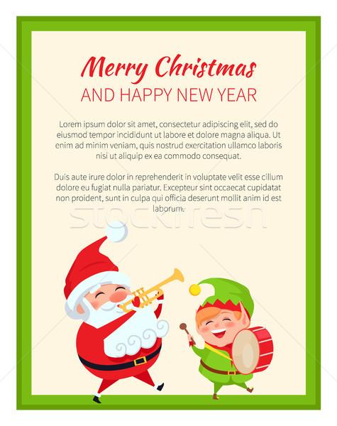 Vrolijk christmas gelukkig nieuwjaar kerstman elf ingesteld Stockfoto © robuart
