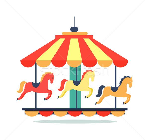 Bright Revolving Carousel Icon Vector Illustration Stock photo © robuart
