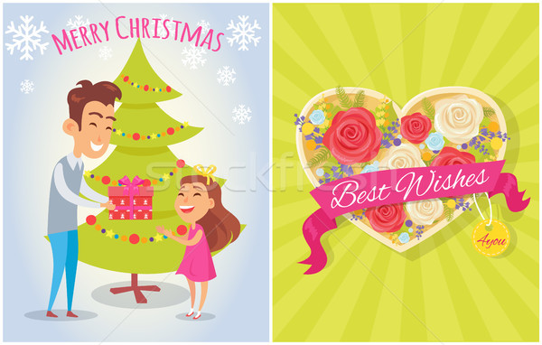 Merry Christmas Best Wishes for You Postcard Heart Stock photo © robuart