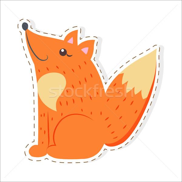 Cute Fox Cartoon вектора наклейку икона Сток-фото © robuart