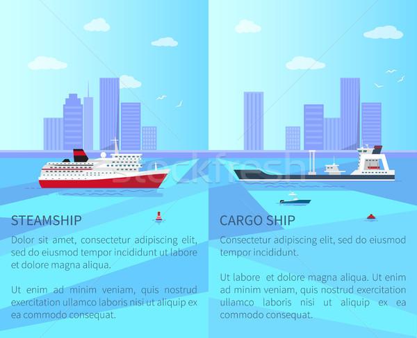 Grande navio a vapor espaçoso cargueiro água Foto stock © robuart