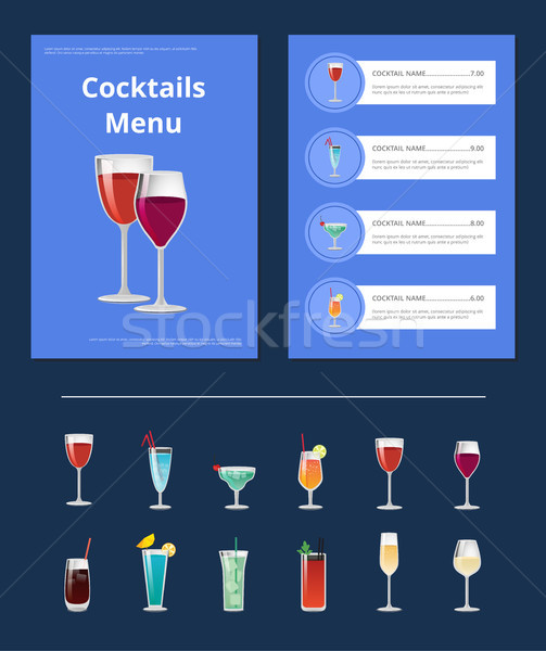 Cocktails menu bar lay-out dranken Stockfoto © robuart