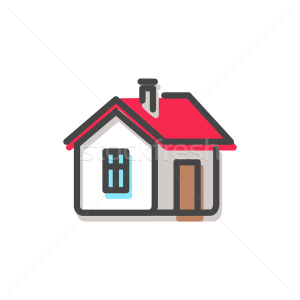 House with Red Roof Christmas Vector Illustration Stock photo © robuart