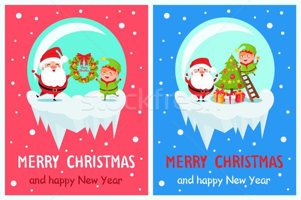 Képeslap vidám karácsony boldog új évet mikulás manó Stock fotó © robuart