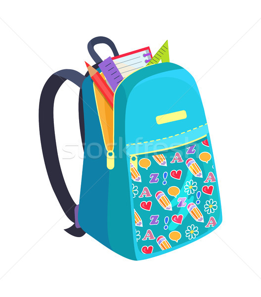Open School Bag with Stationary Element Accessory Stock photo © robuart