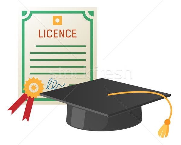 Square Academic Hat with Tassel and Licence Stock photo © robuart