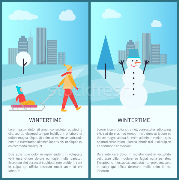 Wintertime Placards with Text Vector Illustration Stock photo © robuart