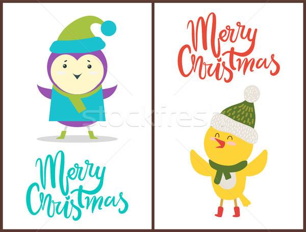 Alegre natal banners congratulação aves engraçado Foto stock © robuart