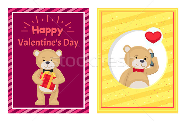 Happy Valentines Day Posters Set Plush Teddy Toy Stock photo © robuart