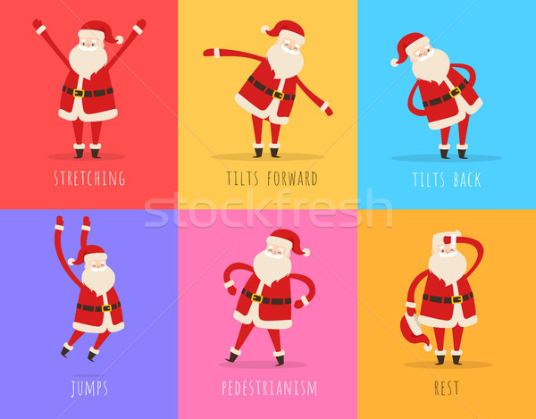 Set of Active Santa Fitnes on Color Background Stock photo © robuart