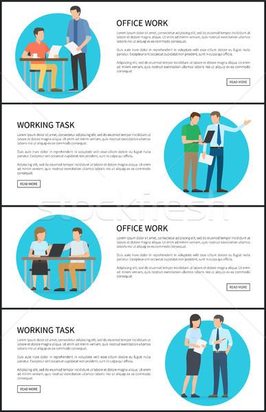 Trabajo de oficina tarea brillante tarjetas texto muestra Foto stock © robuart
