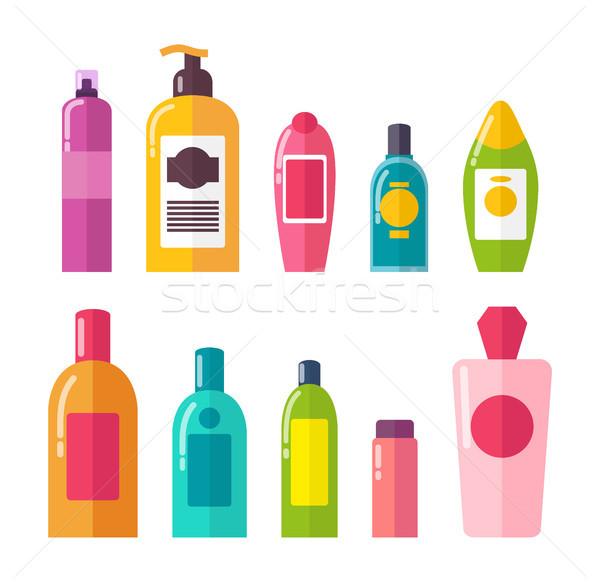 Sprays and Shampoos Poster Set Vector Illustration Stock photo © robuart