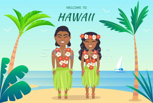 Welcome to Hawaii Poster on Vector Illustration Stock photo © robuart