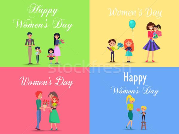 Feliz día de la mujer cuatro ninos adultos Foto stock © robuart