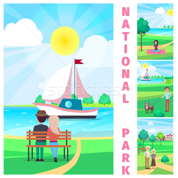 National Park with Couple Admiring Yacht Vector Stock photo © robuart