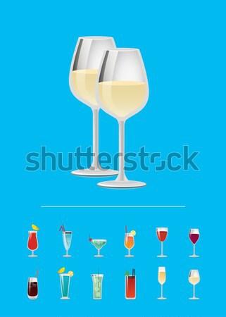 Cóctel menú anuncio anunciante champán dos Foto stock © robuart