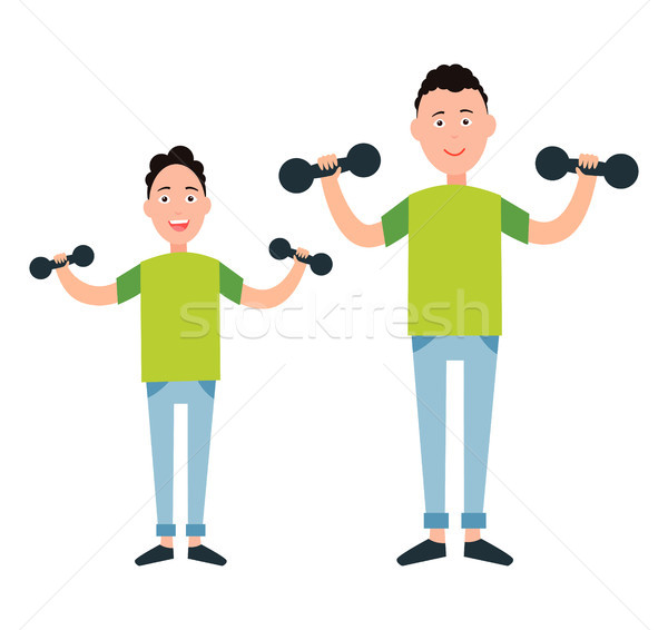 Stock photo: Father and Son Train with Dumbbells vector