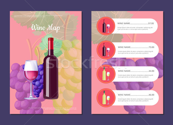 Wine Map with Full Bottle on Cover and Price List Stock photo © robuart
