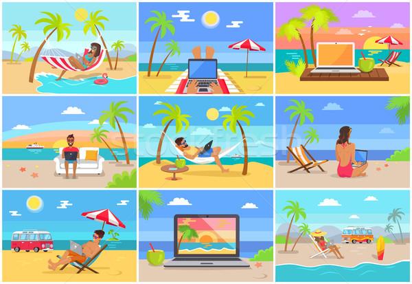 Freelance werknemers zonnige tropische stranden ingesteld Stockfoto © robuart