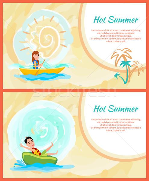 Chaud été coloré cartes actif mer Photo stock © robuart