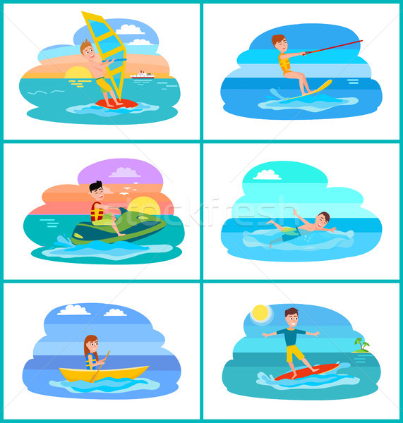 Rafting and Summer Sport Set Vector Illustration Stock photo © robuart