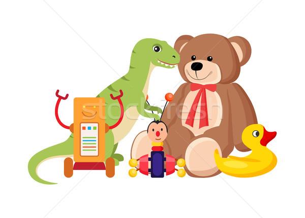 Stock foto: Teddybär · Dinosaurier · Set · Sammlung · Spielzeug · Kinder
