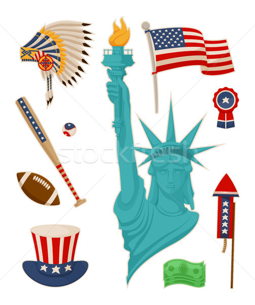 USA Symbolysm and Statue of Liberty Vector Banner Stock photo © robuart