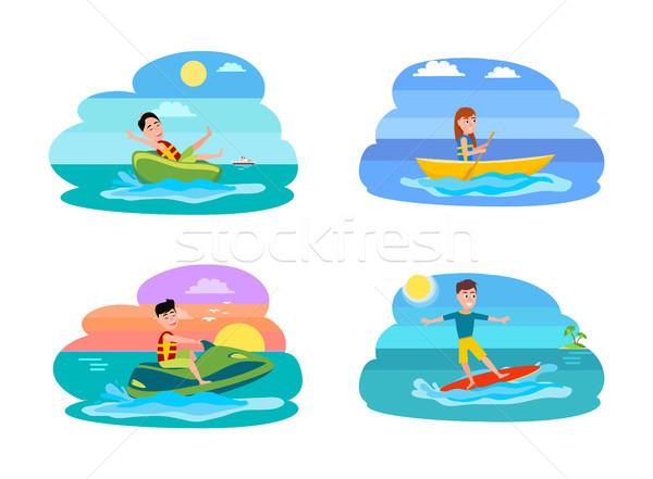 Deporte verano actividades establecer colección personas Foto stock © robuart