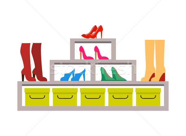 Racks with Various Pair of Shoes, Colorful Banner Stock photo © robuart