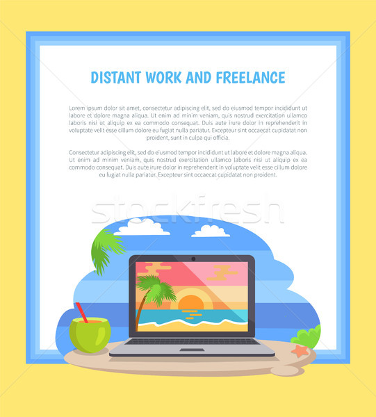 Afgelegen werk freelance poster notebook zeegezicht Stockfoto © robuart