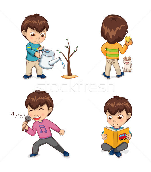 Childhood of Boy Collection Vector Illustration Stock photo © robuart