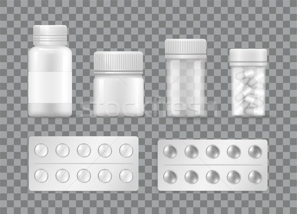 Pharmacy and Medicines Means Vector Pills Blisters Stock photo © robuart