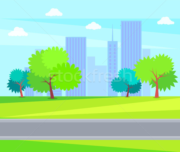 Urban Buildings and Offices Green Tree on Backdrop Stock photo © robuart
