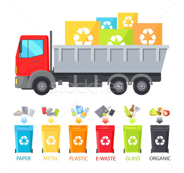 Truck Loaded with Containers Vector Illustration Stock photo © robuart